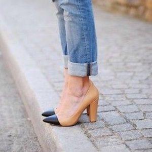 Zara tan and black cap toe pump